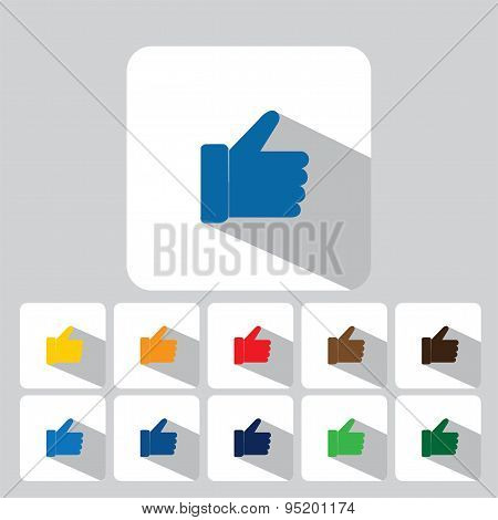 Flat Design Vector Icons Collection Of Like Symbols Used In Social Media Websites