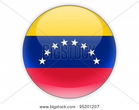 Round Icon With Flag Of Venezuela