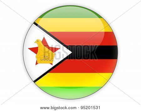 Round Icon With Flag Of Zimbabwe
