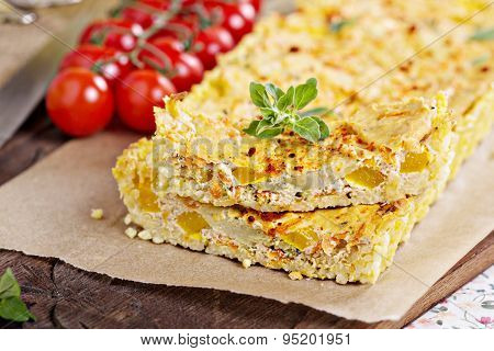 Vegan tart with millet crust and tofu filling