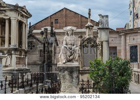 Barcelona, Spain - May 24, 2015: grave sculpture at Poblenou Cemetery in Barcelona