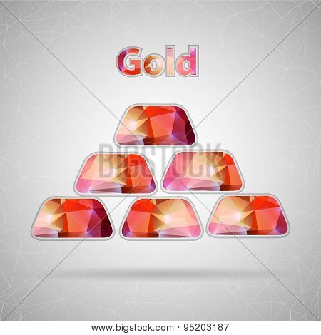 Abstract Creative concept vector icon of gold bullions for Web and Mobile Applications isolated on b