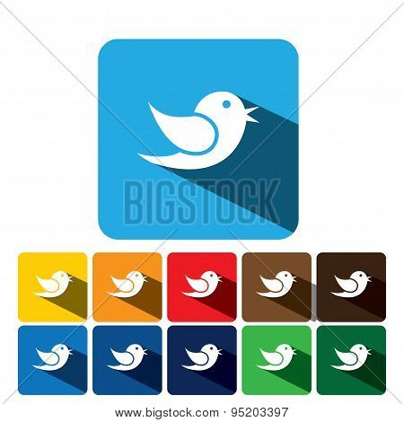 Flat Design Vector Icon Of Bird For Communication On Internet