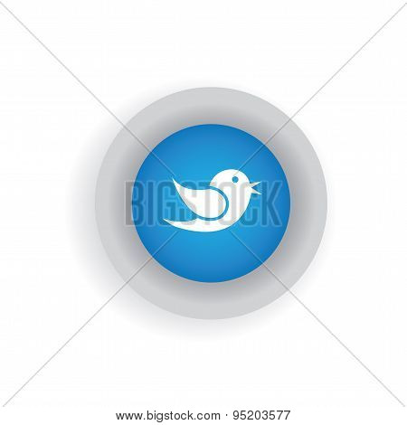 Flat Design Vector Icon Of Bird For Communication On Internet, Mobile Phones, Social Media Sites - S