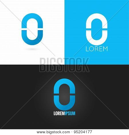 number zero 0 logo design icon set background