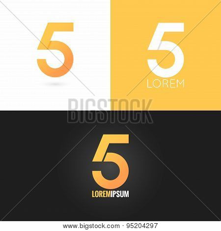 number five 5 logo design icon set background