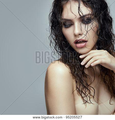 Wet Hair Fashion Portrait