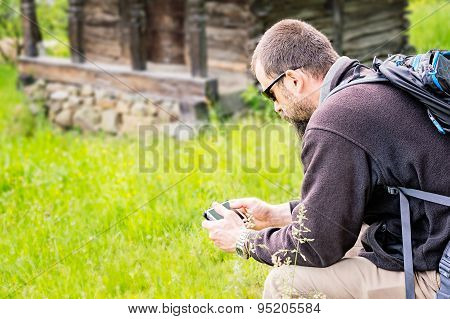 Lateral View Of Bearded Man With Smartphone