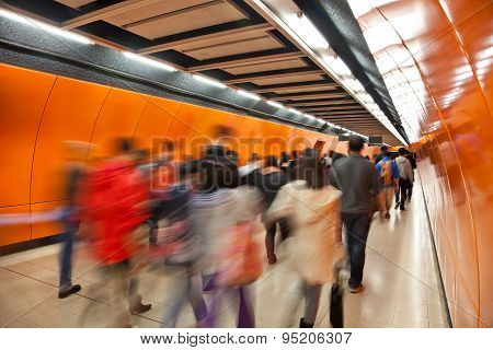 Commuters in subway