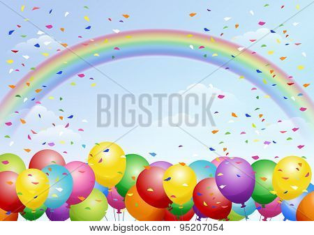 Festival Background With Balloons And Rainbow