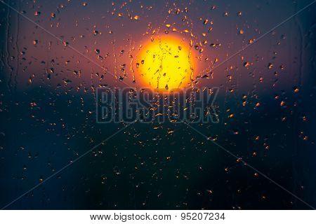 Rain Drops And Sunset