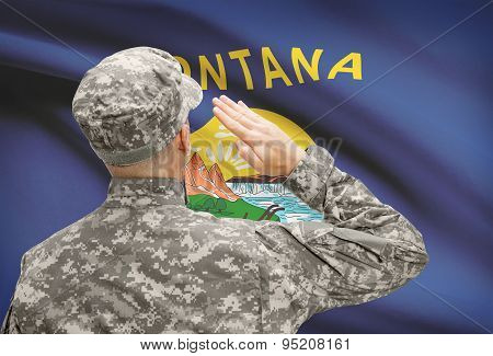 Soldier Saluting To Us State Flag Series - Montana
