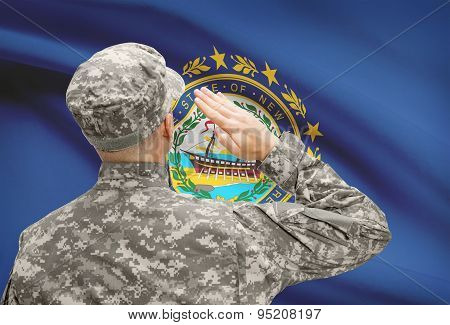 Soldier Saluting To Us State Flag Series - New Hampshire