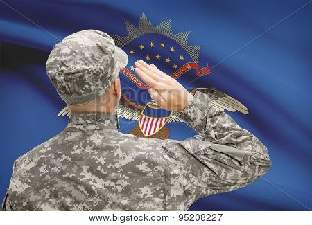 Soldier Saluting To Us State Flag Series - North Dakota