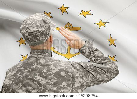 Soldier Saluting To Us State Flag Series - Rhode Island