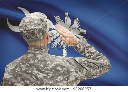 Soldier Saluting To Us State Flag Series - South Carolina