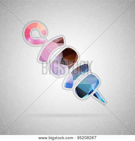 Abstract creative concept vector icon of shish. For web and mobile content isolated on background, u