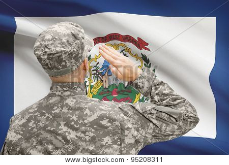 Soldier Saluting To Us State Flag Series - West Virginia