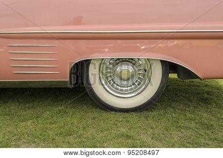 The rear end of a Cadillac car