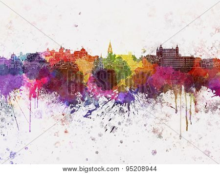 Toledo Skyline In Watercolor Background
