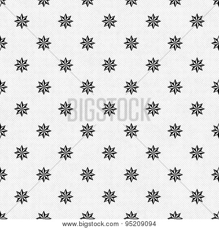 Black And White Eight Pointed Pinwheel Star Symbol Tile Pattern Repeat Background