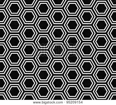 Black And White Hexagon Tile Pattern Repeat Background
