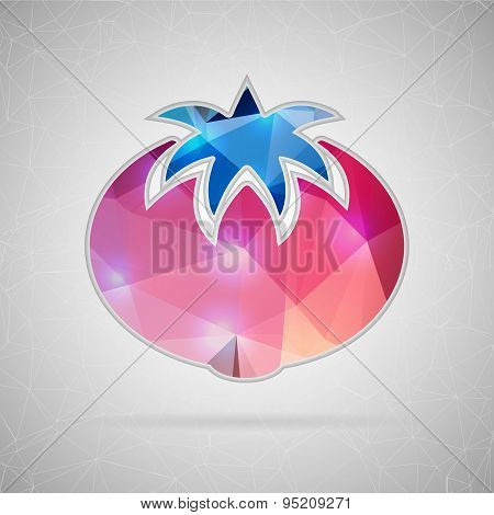 Abstract creative concept vector icon of tomato. For web and mobile content isolated on background,