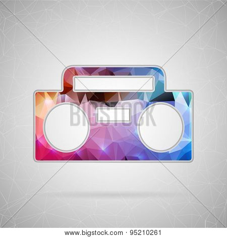 Abstract creative concept vector icon of boombox. For web and mobile content isolated on background,