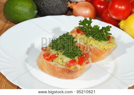 Avocado, Ciabatta, Guacamole,  Tomato, Lemon, Onion, Garlic