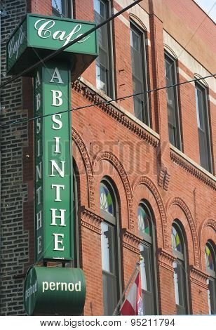 Absinthe sign in green