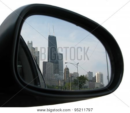 Rear mirror view with John Hancock building