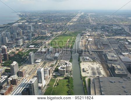 Aerial view along Chicago river