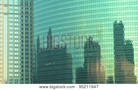 Green reflections of Chicago skyline