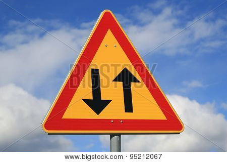 Sign Two Way Traffic Ahead