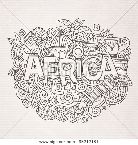 Africa ethnic hand lettering and doodles elements