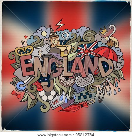 England country hand lettering and doodles elements