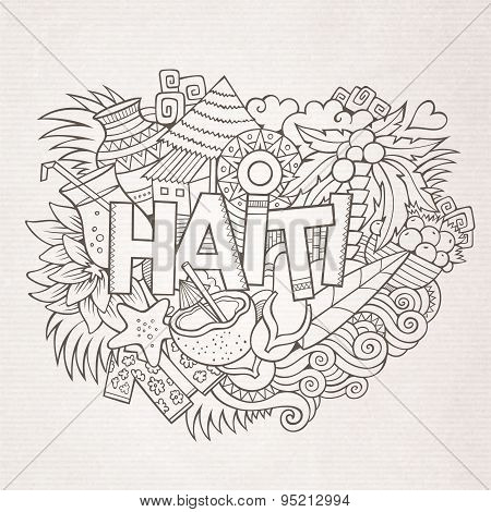 Haiti hand lettering and doodles elements and symbols background