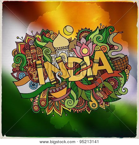 India country hand lettering and doodles elements