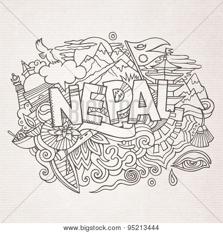 Nepal country hand lettering and doodles elements
