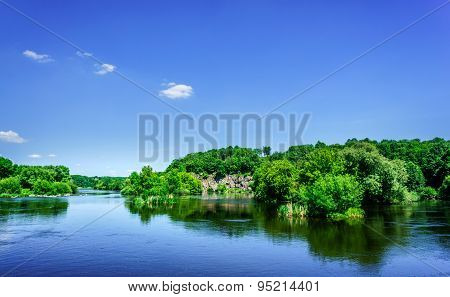 Wonderful River And Blue Sky.