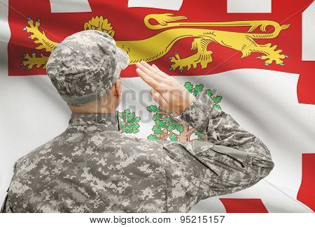 Soldier Saluting To Canadial Province Flag Series - Prince Edward Island