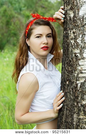 Girl Resting In The Forest Summer