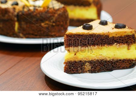 Close-up Piece Of Cake On The Table