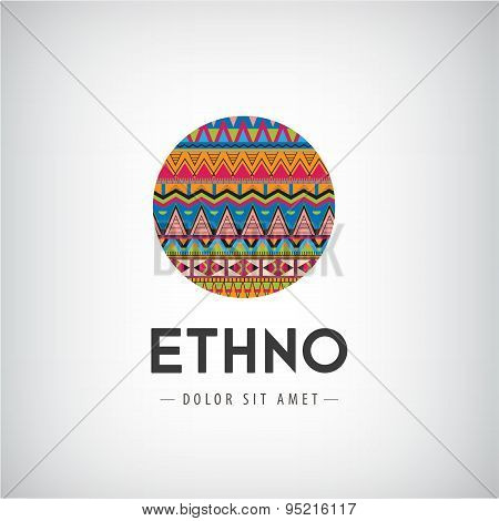 Vector circle ethno, tribal, hipster decorated colorful logo, icon, sign isolated.
