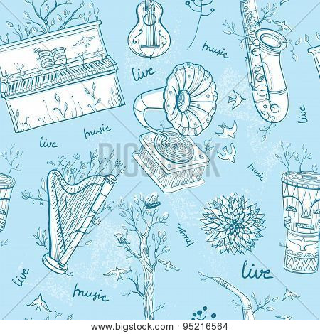 Seamless Pattern With Musical Instruments, Trees, Birds. Illustration Of Live Music.
