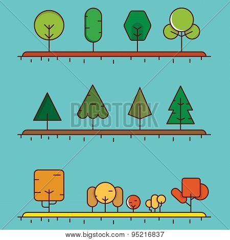 Vector Flat Linear Set Of Different Trees For Design