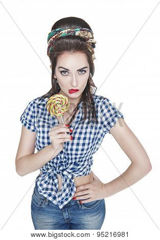 Young Beautiful Woman In Retro Pin Up Style With Lollipop Isolated