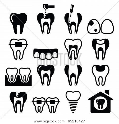 Tooth , teeth, dental clinic vector icons set