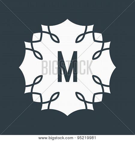 Black and white letter M lettering, design. Monogram, sign, bann