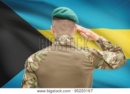 National Military Forces With Flag On Background Conceptual Series - Bahamas